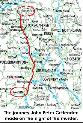Karte der Route, die vom Mörder genommen wird
